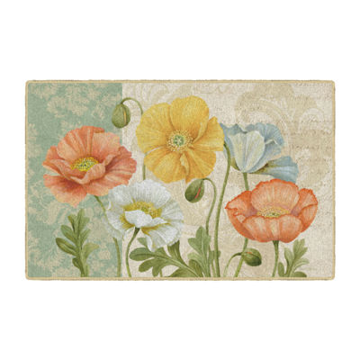 Brumlow Pastel Poppies Printed Rectangular Rugs
