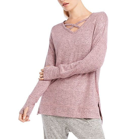 Jacques Moret Jockey Womens V Neck Long Sleeve Quarter-Zip Pullover