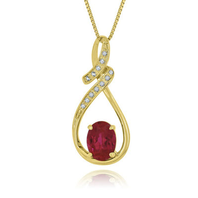 Womens Lab Created Ruby 14K Gold Over Silver Pendant Necklace