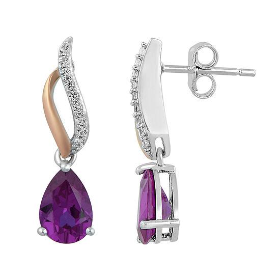 Genuine Purple Amethyst 14K Rose Gold Over Silver Drop Earrings
