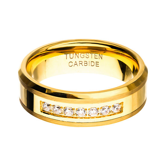Inox Mens Jewelry 8MM White Cubic Zirconia Tungsten Round Wedding Band