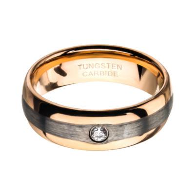 Inox Jewelry Mens 8MM White Cubic Zirconia Tungsten Round Wedding Band