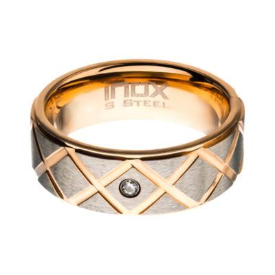 Inox Mens Jewelry 8MM Diamond Accent White Diamond Stainless Steel Round Wedding Band