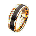 Inox Mens Jewelry 7MM Diamond Accent White Diamond Stainless Steel Round Wedding Band
