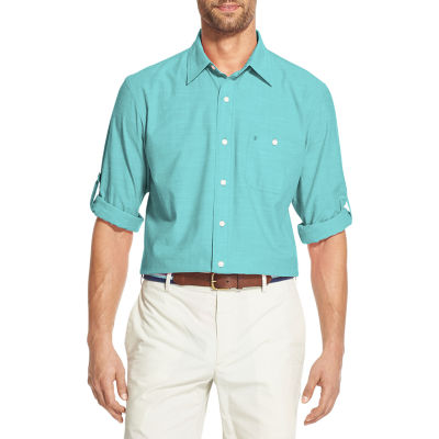 IZOD Dockside Chambray Mens Long Sleeve Button-Front Shirt