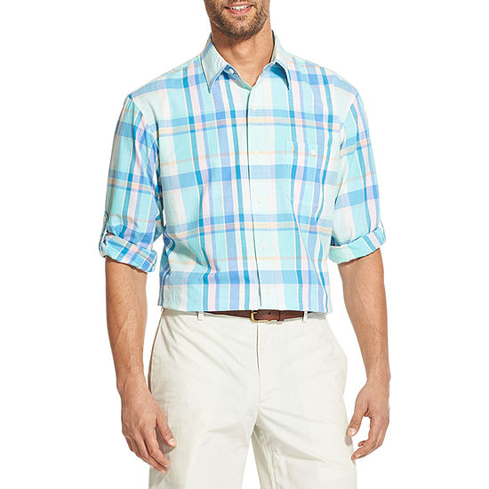 IZOD Dockside Chambray Mens Long Sleeve Plaid Button-Front Shirt