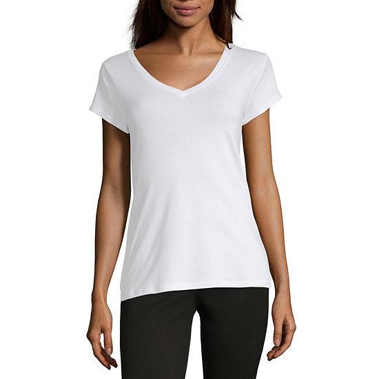 Liz Claiborne Short Sleeve V-Neck Tee - Tall