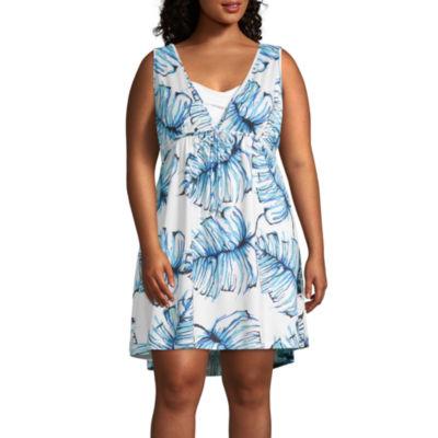 Porto Cruz Leaf Swimsuit Cover-Up Dress-Plus
