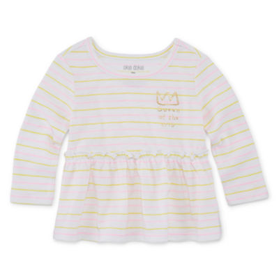 Okie Dokie Girls Round Neck Long Sleeve Peplum Top - Baby