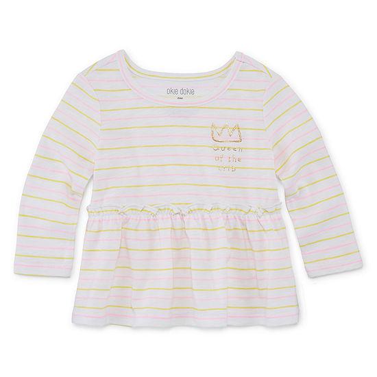Okie Dokie - Baby Girls Baby 0-24 Mos Round Neck Long Sleeve Peplum Top