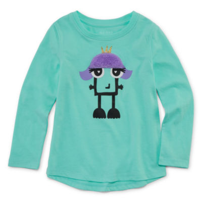 Okie Dokie Girls Round Neck Long Sleeve Graphic T-Shirt-Toddler