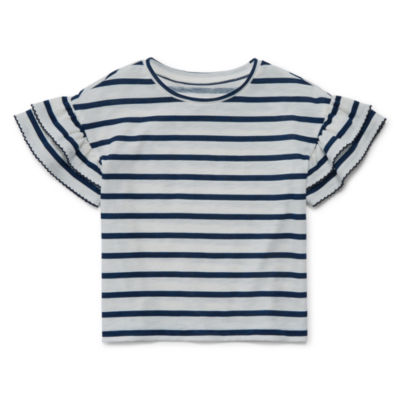 Peyton & Parker Girls Crew Neck Short Sleeve T-Shirt-Toddler