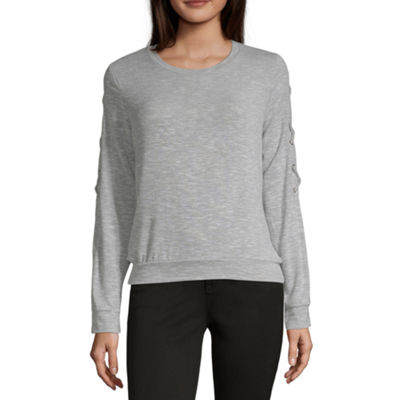 Self Esteem Womens Round Neck Long Sleeve Sweatshirt Juniors