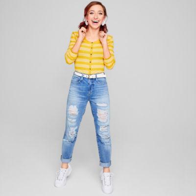 Arizona Womens High Waisted Straight Leg Jean - Juniors
