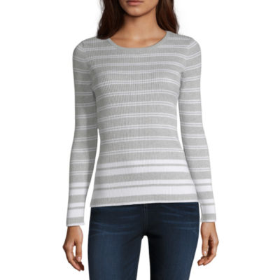 Worthington Womens Round Neck Long Sleeve Stripe Pullover Sweater