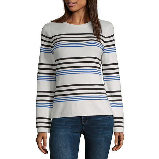 Worthington Womens Crew Neck Long Sleeve Striped Pullover Sweater