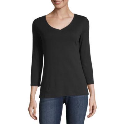 Liz Claiborne-Womens V Neck 3/4 Sleeve T-Shirt