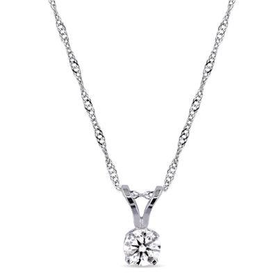 Womens 1/4 CT. T.W. Genuine White Diamond 14K White Gold Pendant Necklace