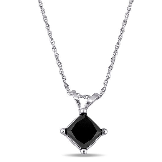Womens 1 CT. T.W. Genuine Black Diamond 10K White Gold Pendant Necklace