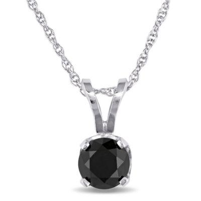 Womens 1/2 CT. T.W. Genuine Black Diamond 10K White Gold Pendant Necklace
