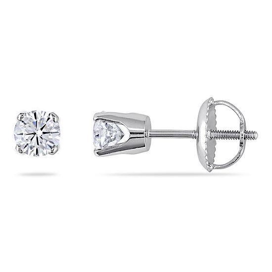 1/2 CT. T.W. Genuine White Diamond 14K White Gold 4mm Stud Earrings