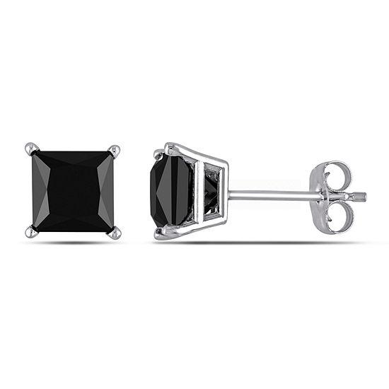 2 CT. T.W. Genuine Black Diamond 10K White Gold 6mm Stud Earrings