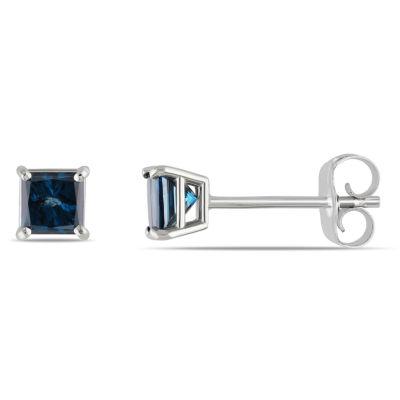 1/2 CT. T.W. Genuine Blue Diamond 14K White Gold 4mm Stud Earrings