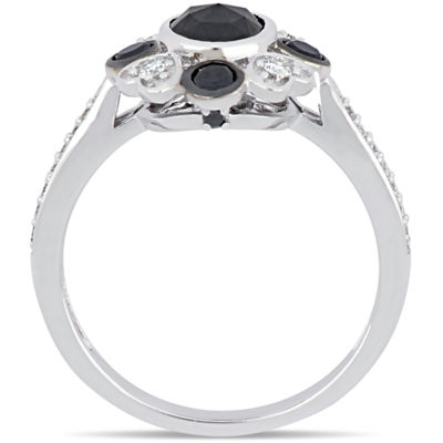 Womens 1 1/4 CT. T.W. Genuine Black Diamond 10K White Gold Cocktail Ring