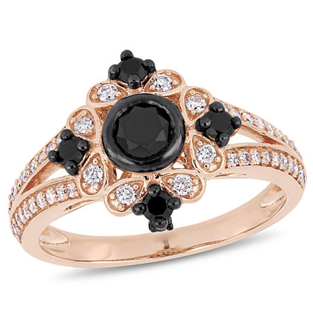 Womens 1 CT. T.W. Genuine Black Diamond 10K Rose Gold Cocktail Ring, 7
