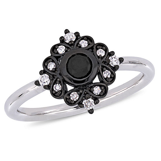 Womens 1/3 CT. T.W. Genuine Black Diamond 10K White Gold Cocktail Ring