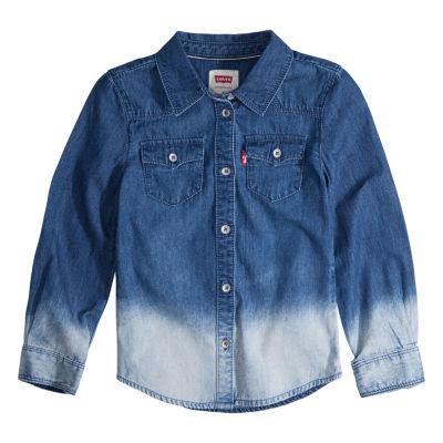 Levi's The Western Denim Long Sleeve Button-Front Shirt Girls