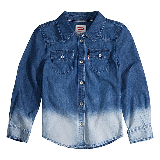 Levi's The Western L/S Denim Top Girls Long Sleeve Button-Front Shirt Big Kid