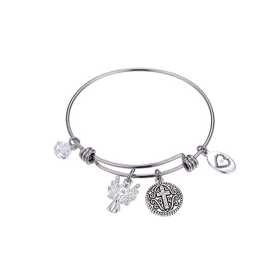 Footnotes Guardian Angel Watch Over Me Clear Silver Tone Pure Silver Over Brass Round Bangle Bracelet