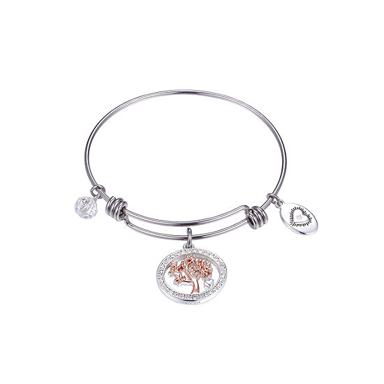 Footnotes Family Tree Clear Pure Silver Over Brass Round Bangle Bracelet