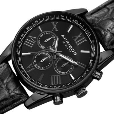 Akribos XXIV Mens Black Strap Watch-A-864bk