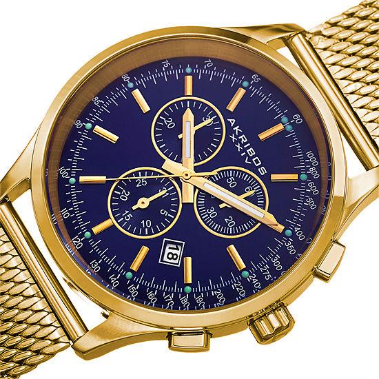 Akribos Xxiv Mens Gold Tone Bracelet Watch A 625bu