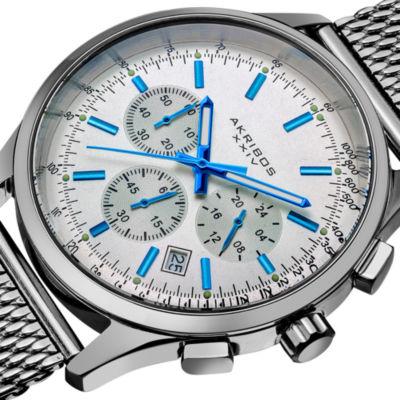 Akribos XXIV Mens Silver Tone Bracelet Watch-A-625ss