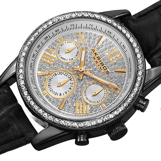 Akribos XXIV Womens Black Strap Watch-A-871bk