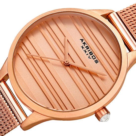 Akribos Xxiv Womens Rose Goldtone Bracelet Watch A 1005rg