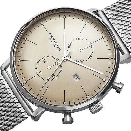 Akribos Xxiv Mens Silver Tone Bracelet Watch A 685ss