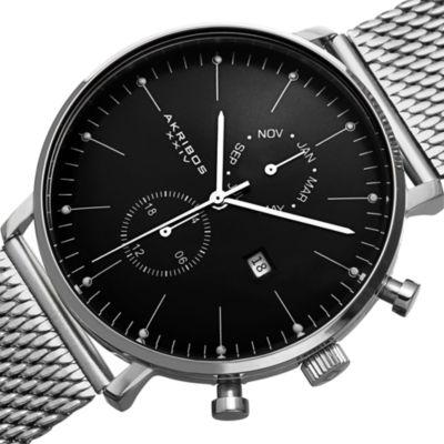 Akribos XXIV Mens Silver Tone Bracelet Watch-A-685ssb