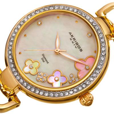 Akribos XXIV Womens Gold Tone Bracelet Watch-A-874yg