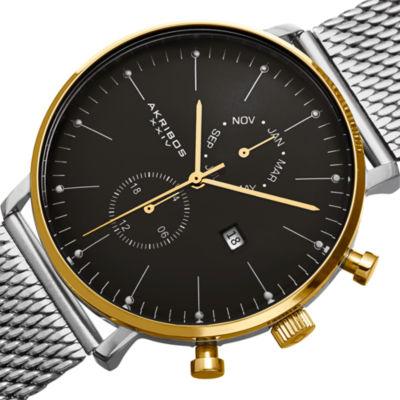 Akribos XXIV Mens Silver Tone Bracelet Watch-A-685ssg