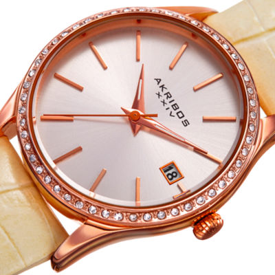 Akribos XXIV Womens White Strap Watch-A-883wtr