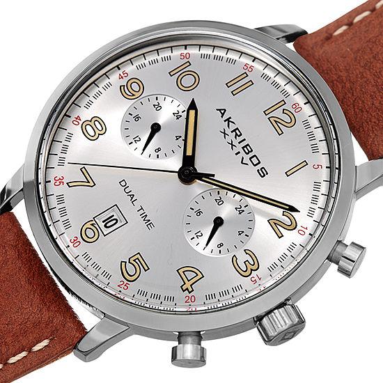 Akribos XXIV Mens Brown Strap Watch-A-1023ssbr
