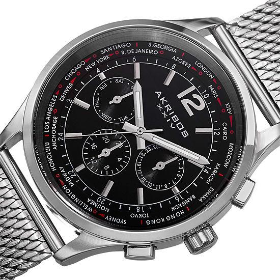 Akribos Xxiv Mens Silver Tone Bracelet Watch A 716ssb