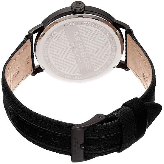 Akribos XXIV Mens Black Strap Watch-A-1025bk
