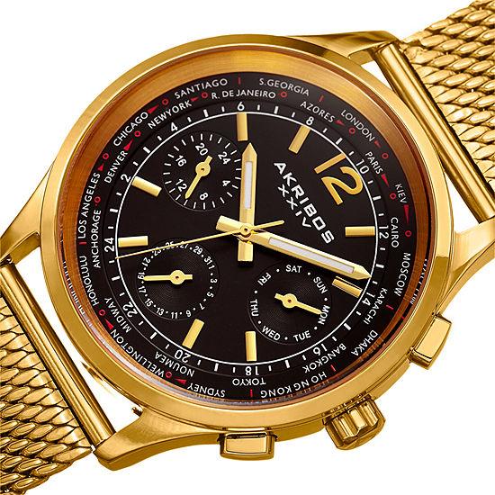 Akribos XXIV Mens Gold Tone Bracelet Watch-A-716ygb
