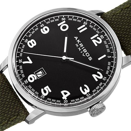 Akribos XXIV Mens Green Strap Watch-A-1025ssbk