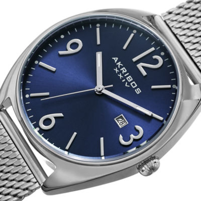 Akribos XXIV Mens Silver Tone Bracelet Watch-A-1026bu